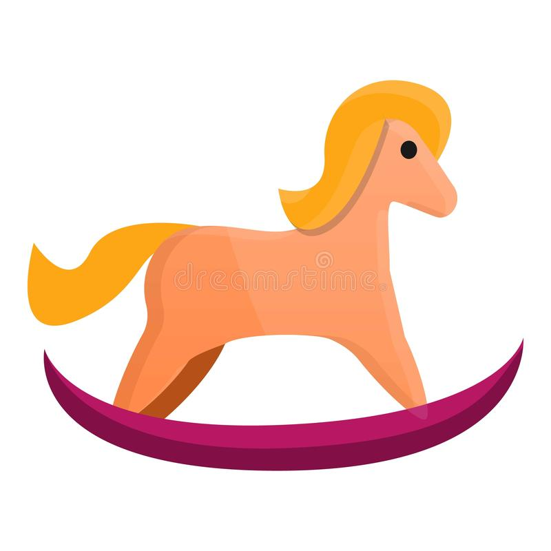 Baby horse toy icon, cartoon style. Baby horse toy icon. Cartoon of baby horse toy vector icon for web design isolated on white background stock illustration