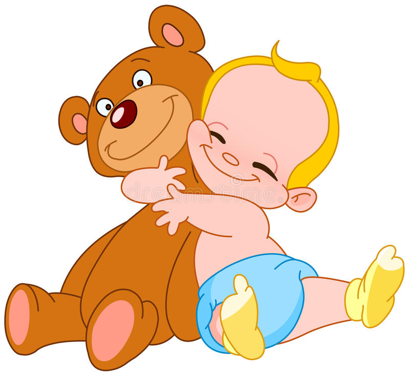 Baby hug bear royalty free illustration