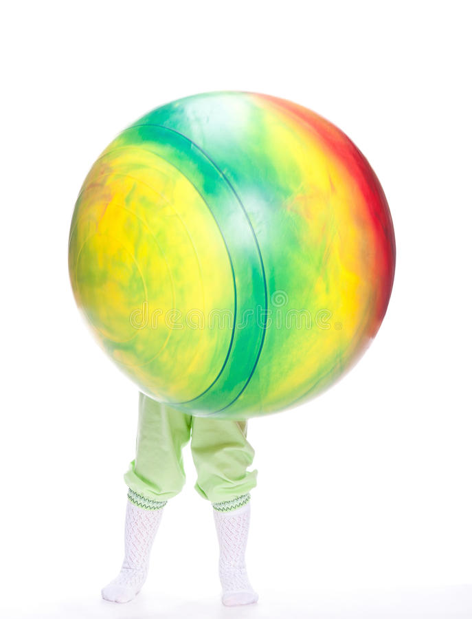 Download Baby with huge fitball stock photo. Image of portrait - 27010494