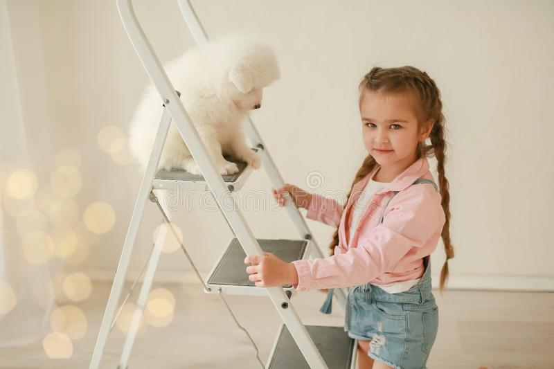 Baby Hugs the white fluffy puppy. Kids.  royalty free stock photography