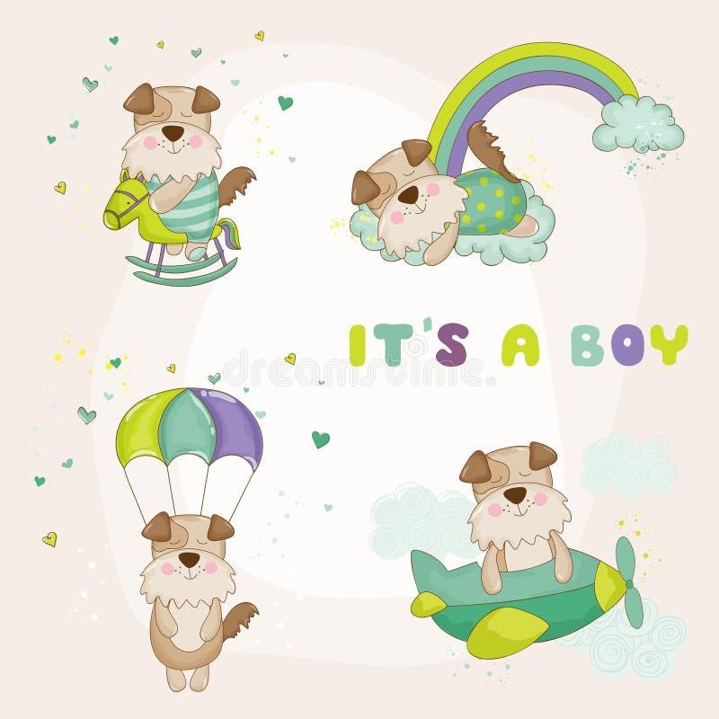 Baby-Hund eingestellt - Babyparty oder Ankunfts-Karte lizenzfreie abbildung