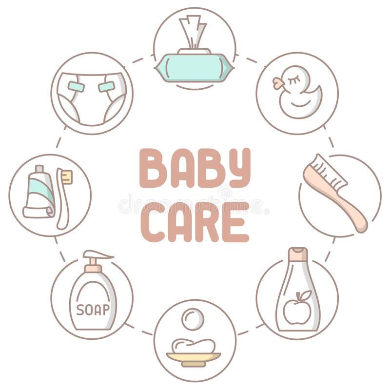 Baby hygiene products collection. Linear style vector illustration. Baby care accessories. Suitable for advertising. There is place for your text stock illustration