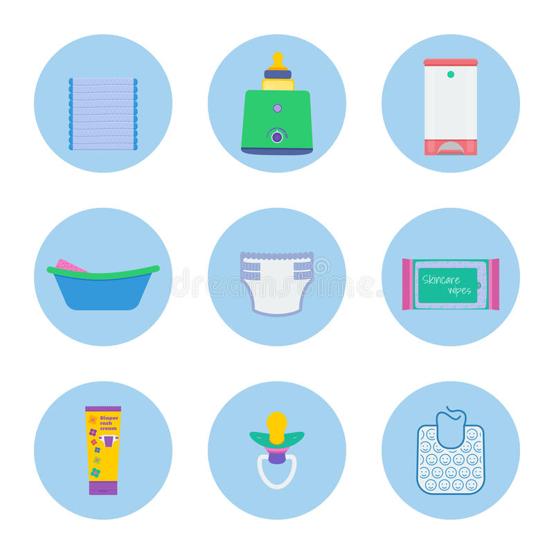 Baby hygiene vector objects. Baby hygiene vector set: pack of diapers, milk sterilizer and bottle warmer, diaper pail, infant bath with sponge, diaper, skincare royalty free illustration