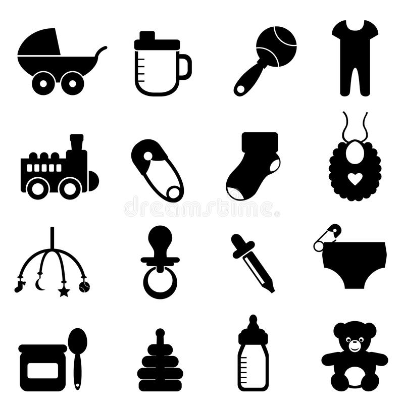 Baby icon set in black royalty free illustration