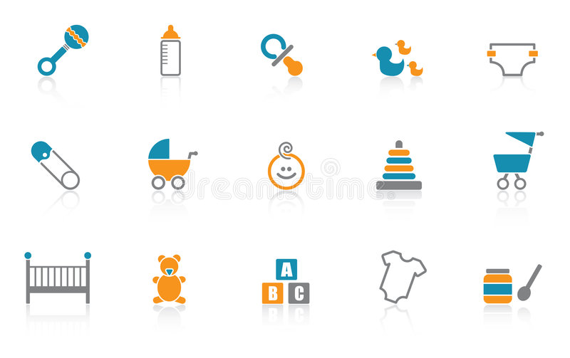 Baby Icon set - Blue. Blue version of a set of modern baby icons. EPS file available for download - customize this file stock illustration