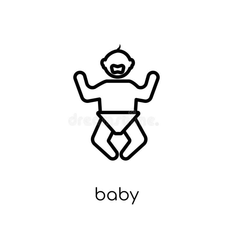 Baby icon. Trendy modern flat linear vector Baby icon on white b royalty free illustration