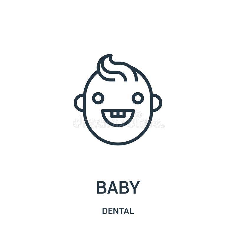 Baby icon vector from dental collection. Thin line baby outline icon vector illustration. Linear symbol. For use on web and mobile apps, logo, print media stock illustration