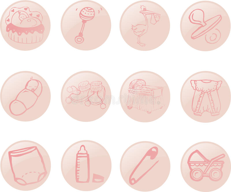 Baby Icons. A set of icons with the babies theme vector illustration