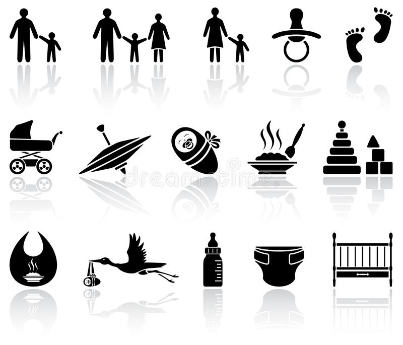 Download Baby icons stock vector. Illustration of pram, carry - 26502484