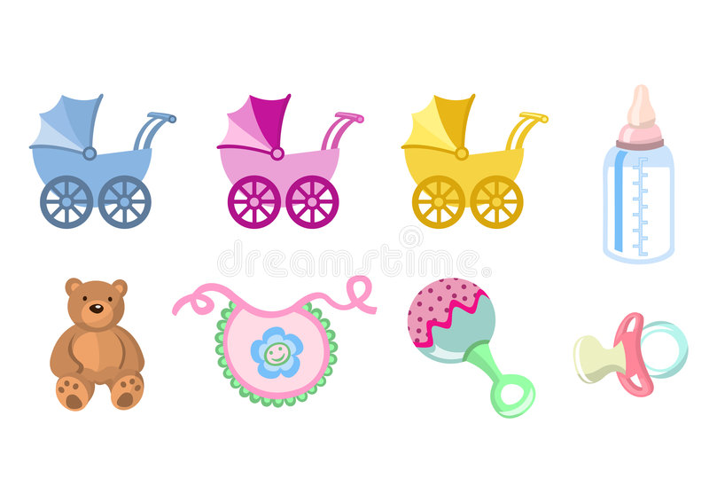 Baby icons. Vector illustration of baby icons. Includes carriage, bottle, teddy bear, bib, pacifier and rattle royalty free illustration