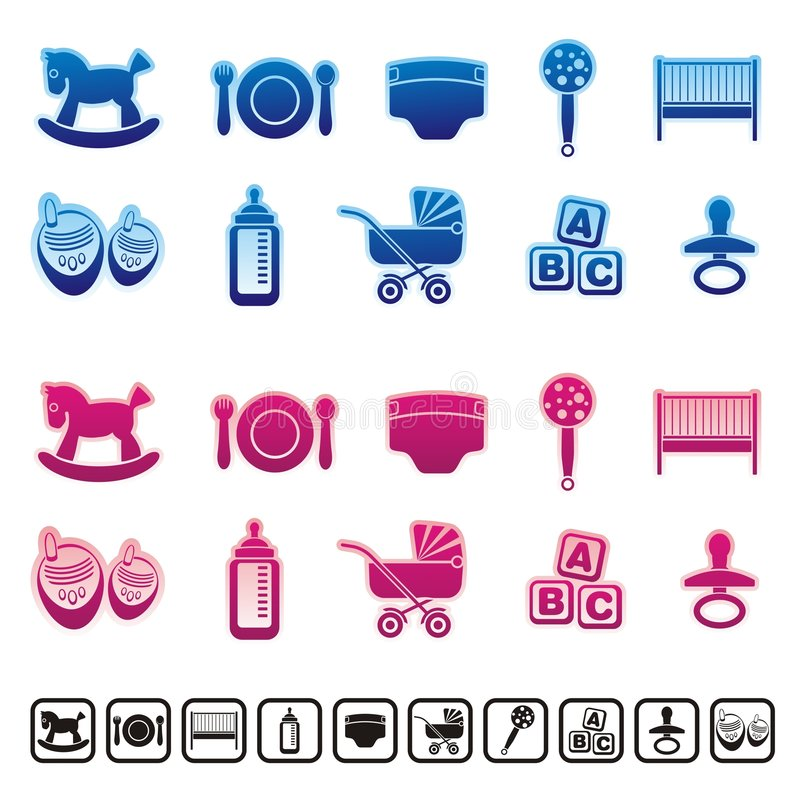 Baby icons. Blue and pink baby care icons vector illustration
