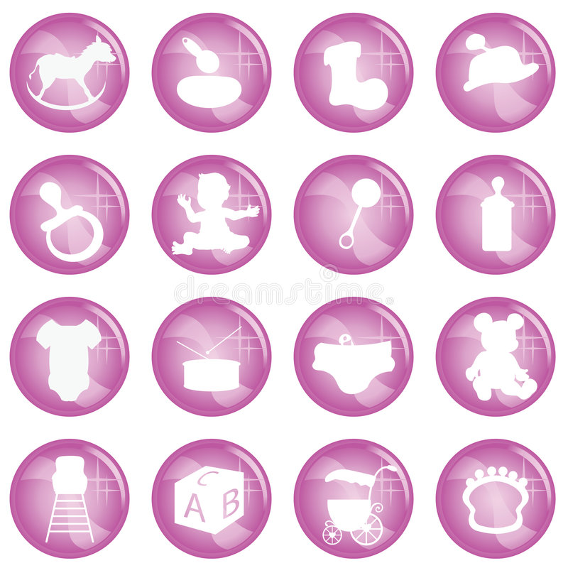 Baby icons. For babies, toddlers, newborns and others vector illustration