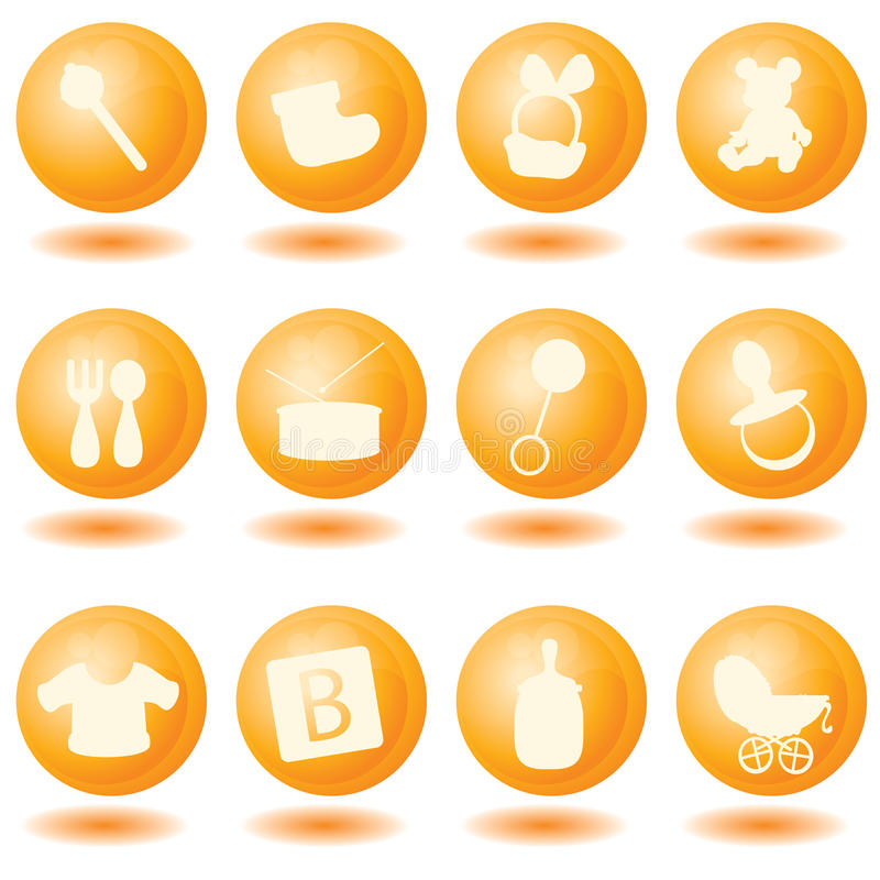 Baby icons. For babies, toddlers, newborn and others vector illustration