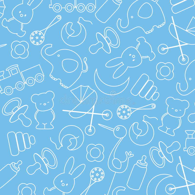 Baby icons. Blue background with baby icons stock illustration