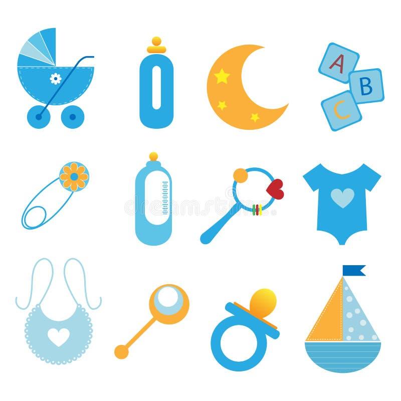 Baby icons - boy. Set of twelve baby icons isolated on white background.EPS file available