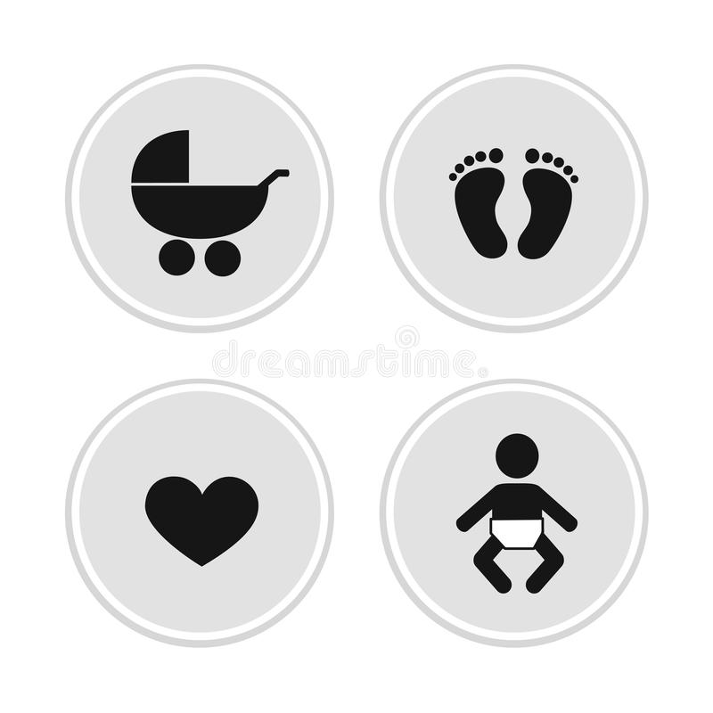 Baby icons feet footprint heart and stroller vector illustration