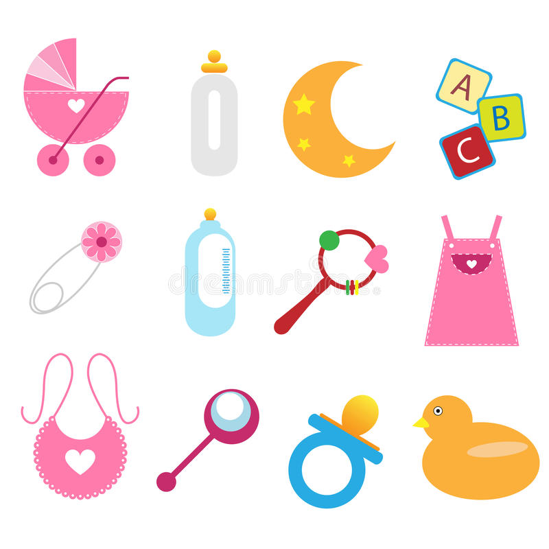 Baby icons - girl. Set of twelve baby icons isolated on white background.EPS file available