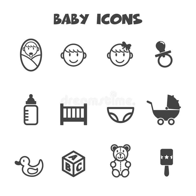 Baby icons. Mono vector symbols vector illustration