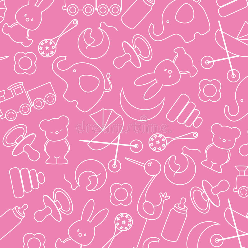 Baby icons. Pink background with baby icons royalty free illustration