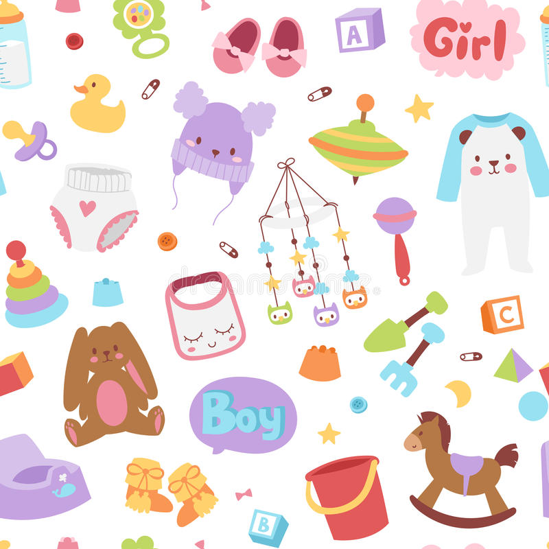 Baby icons seamless pattern vector. Baby icons set vector cartoon family toys sign seamless pattern. Baby symbols design cute boy and girl toys set childhood stock illustration