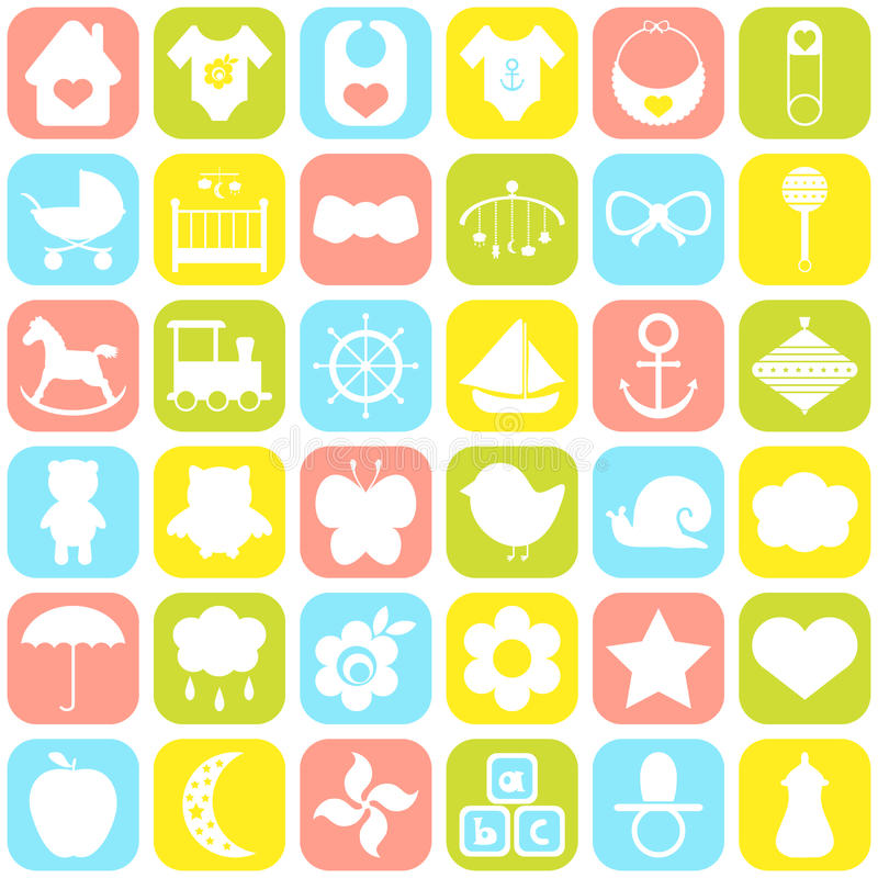 Baby icons set. For cards, invitations, wedding or baby shower albums, backgrounds, arts and scrapbooks. Vector illustration stock illustration