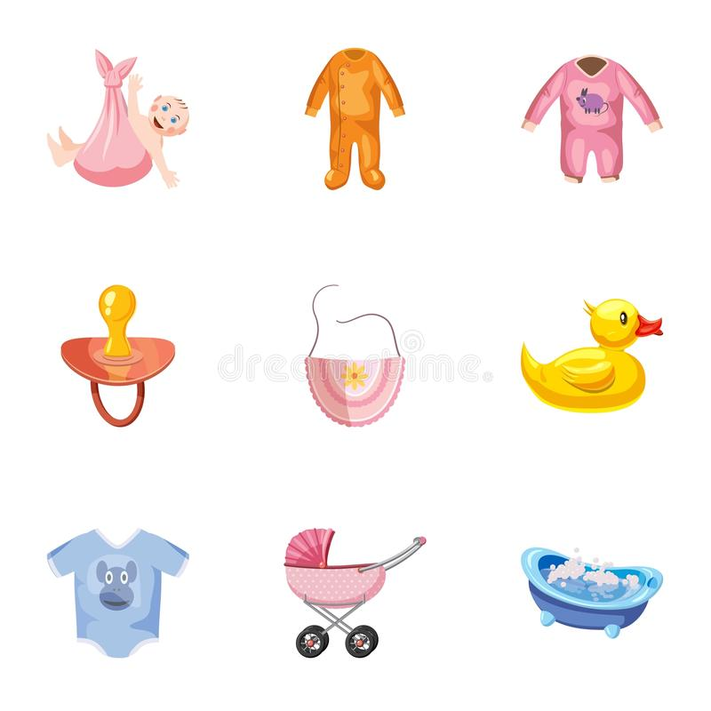 Baby icons set, cartoon style. Baby icons set. Cartoon illustration of 9 baby vector icons for web vector illustration