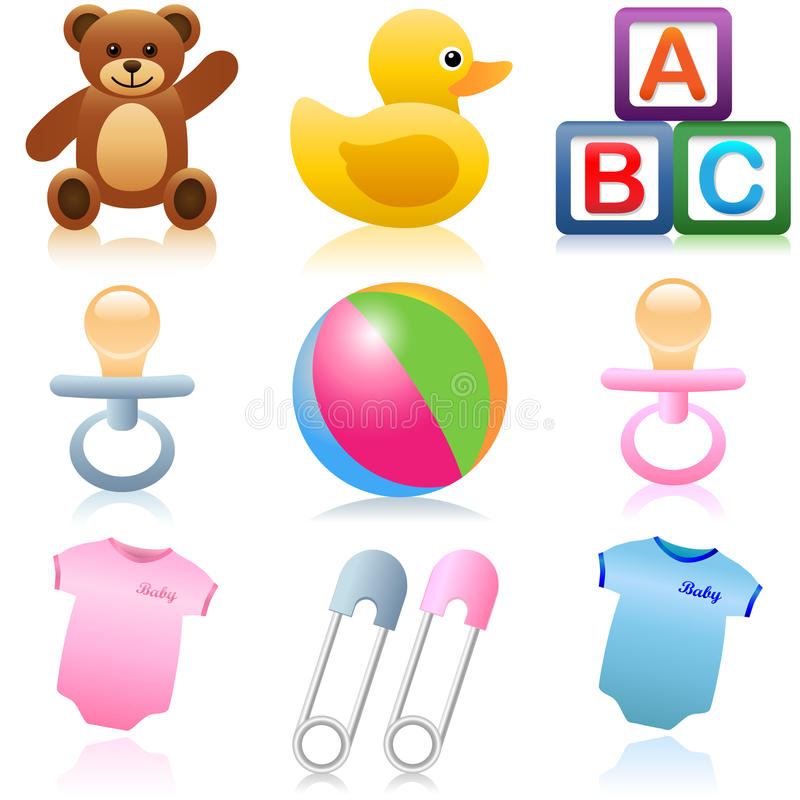 Baby Icons. A set of baby and child icons stock illustration