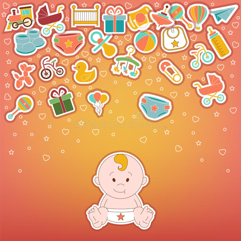 Baby Icons Set. Doodle baby labels Vector Illustration royalty free illustration