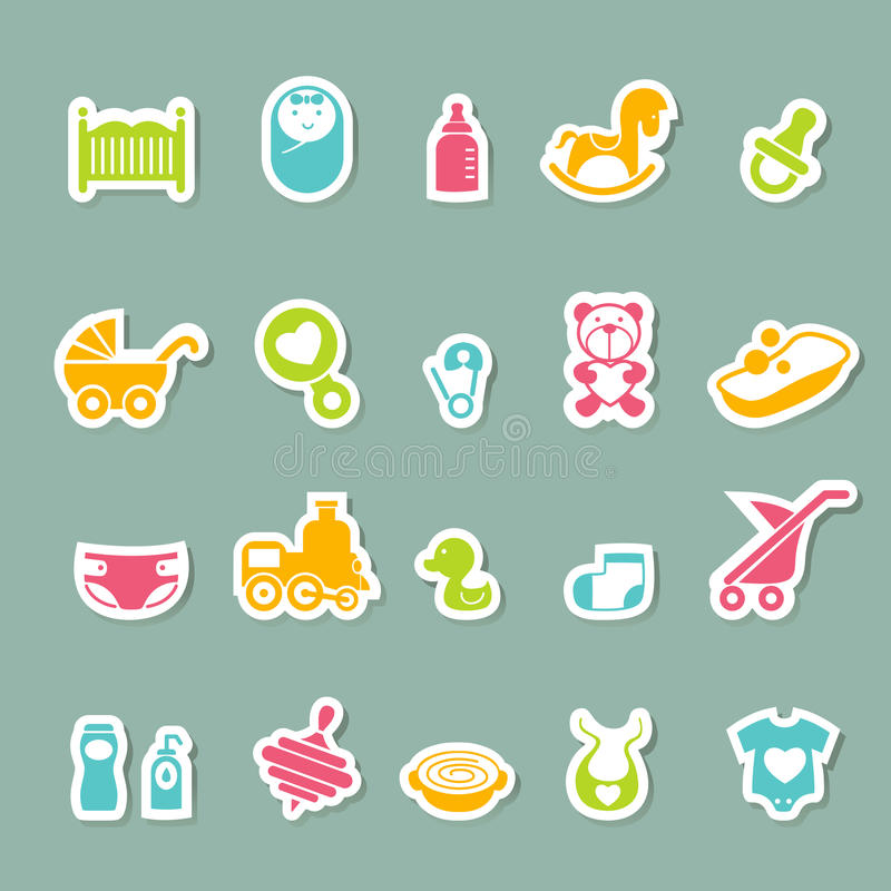 Baby icons set. Illustration of baby icons set vector illustration