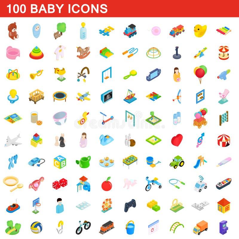 100 baby icons set, isometric 3d style stock illustration