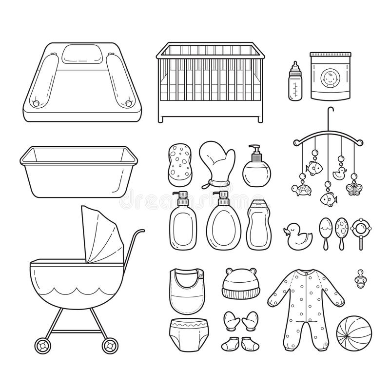 Baby Icons Set, Outline Icons royalty free illustration