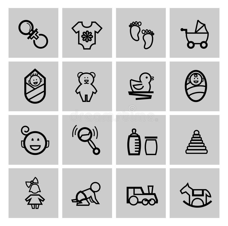 Baby icons set. Vector black baby icons set on gray vector illustration