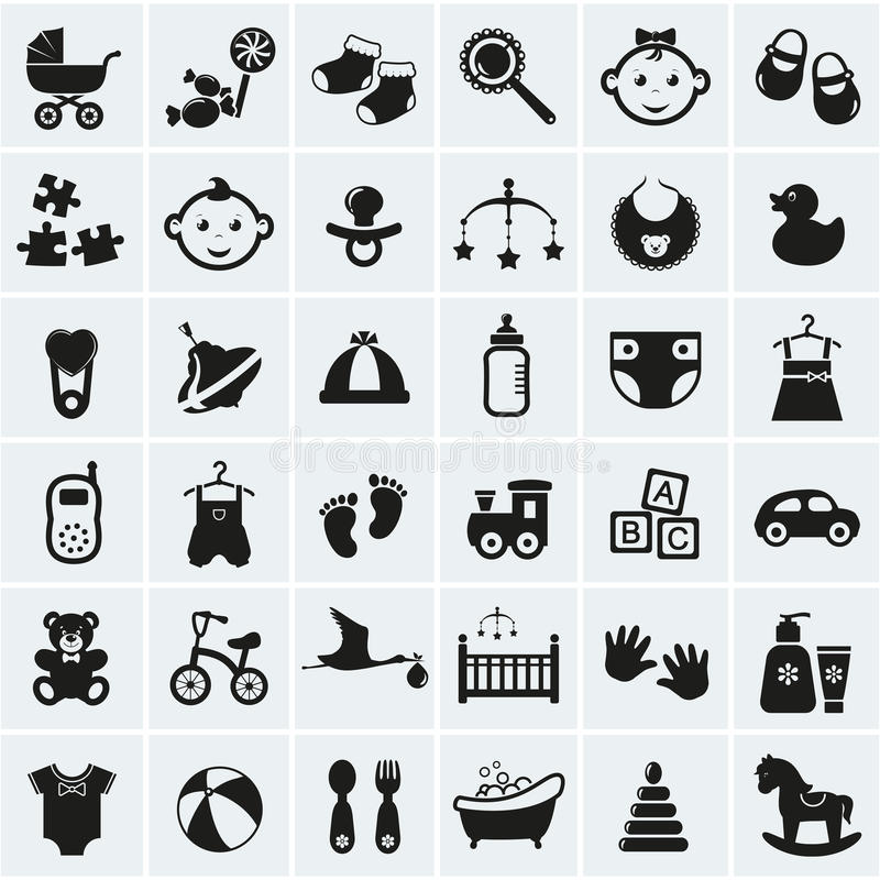 Baby icons set. Vector illustration. Collection of 36 baby icons. Vector illustration vector illustration