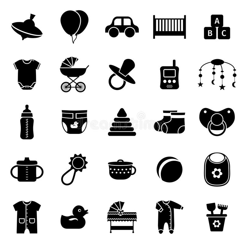 Baby icons set. Vector illustration. Baby icons. Vector set. Baby toys, clothes and other items. Collection black simple symbols for newborn kids on white vector illustration