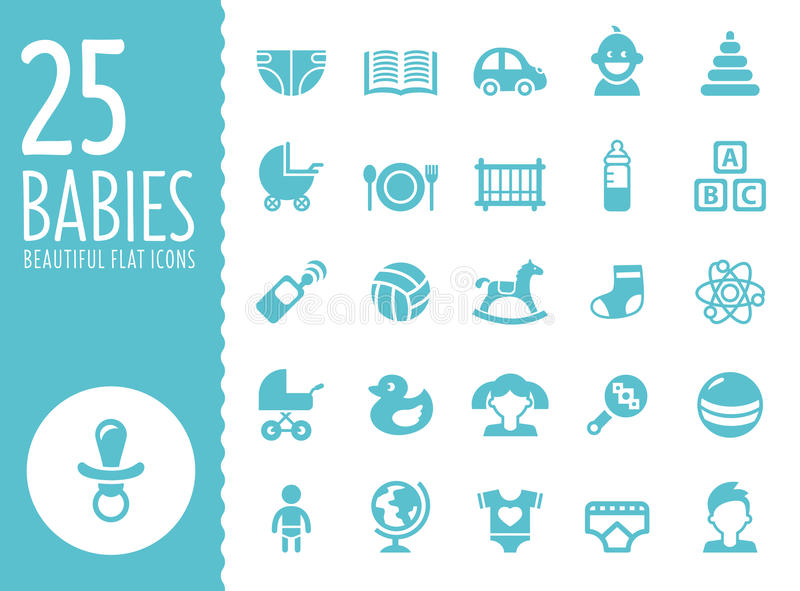 Baby icons set, vector. Simple flat style, kids, children vector illustration