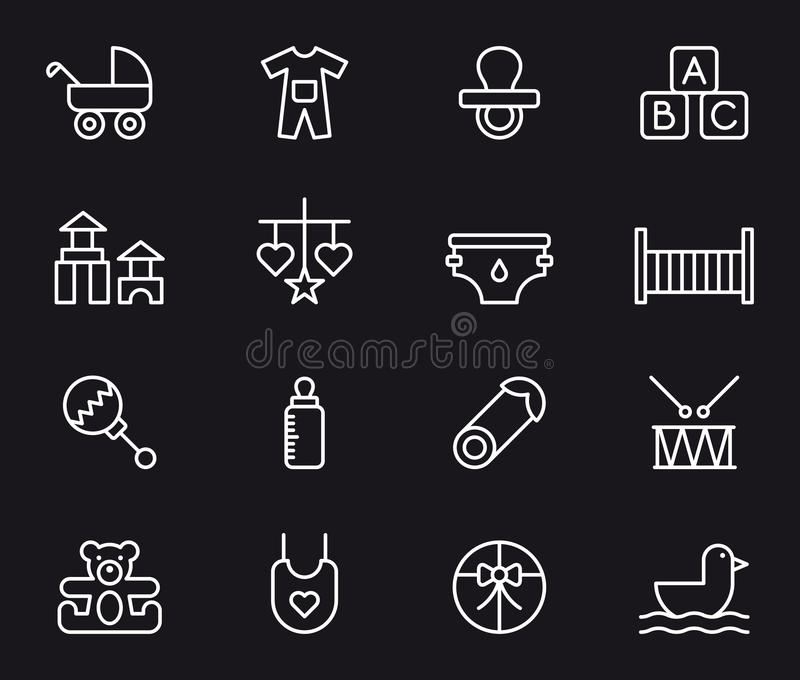 Baby icons. White outline icons relating to babies on black background stock illustration