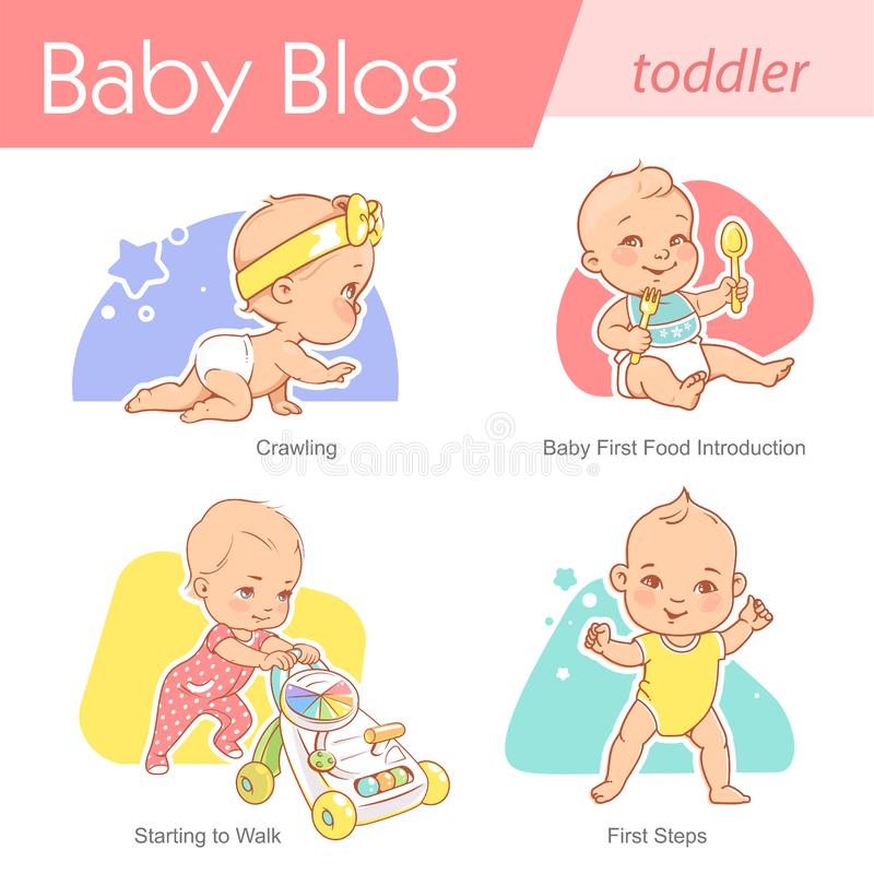 Set of baby illustration. First year growth and activity. Baby illustration.Toddler care and development. Baby crawl, walk, eat,stand. First year of child stock illustration