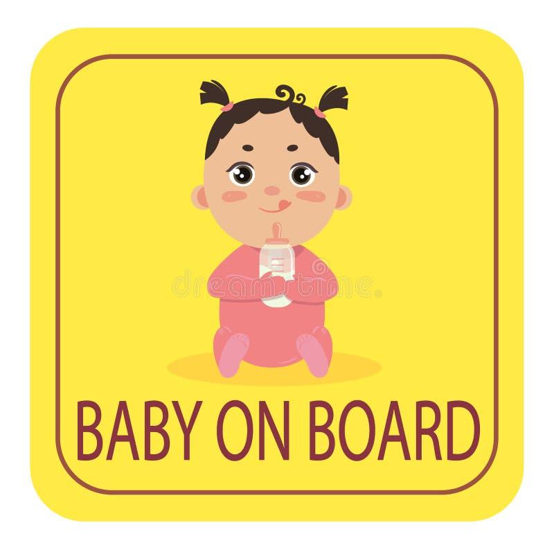 Baby im Autosicherheitsauto-Aufkleberzeichen Mädchen an Bord vektor abbildung