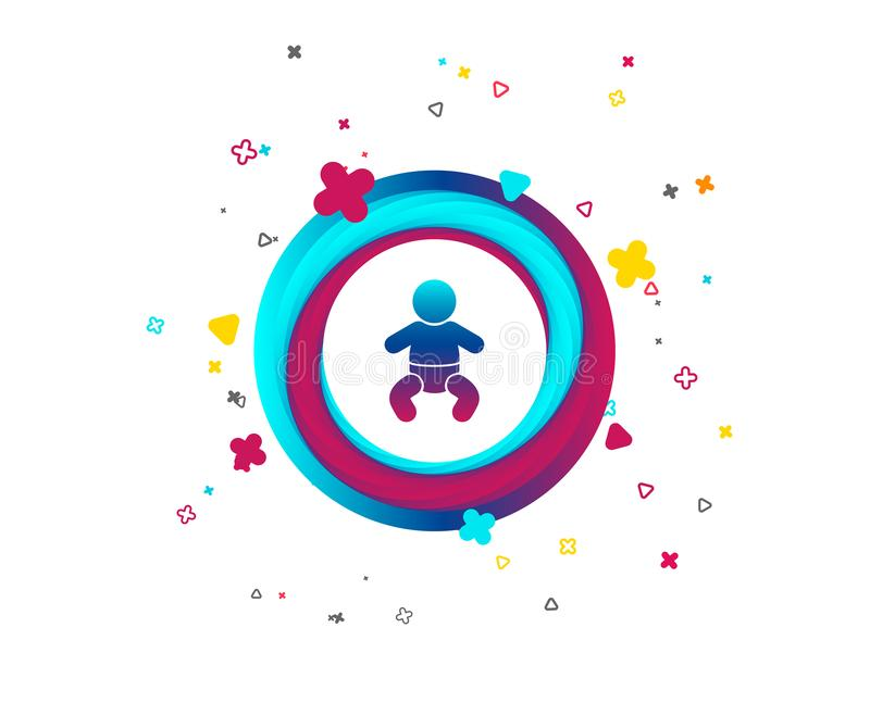 Baby infant sign icon. Toddler boy symbol. Baby infant sign icon. Toddler boy with diapers symbol. Child WC toilet. Colorful button with icon. Geometric royalty free illustration