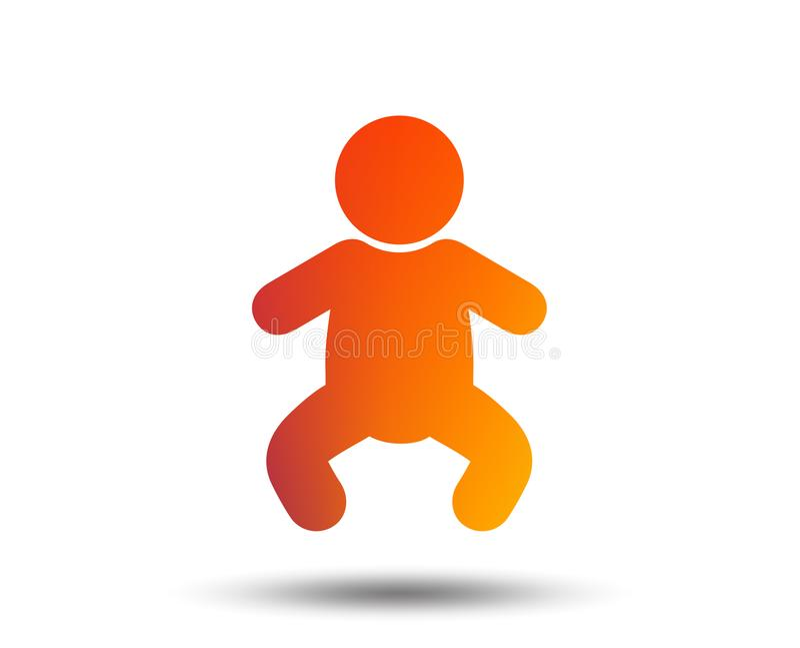 Baby infant sign icon. Toddler boy symbol. Baby infant sign icon. Toddler boy in pajamas or crawlers body symbol. Child WC toilet. Blurred gradient design vector illustration