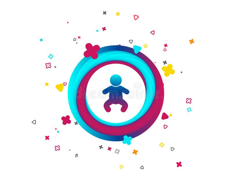 Baby infant sign icon. Toddler boy symbol. Baby infant sign icon. Toddler boy in pajamas or crawlers body symbol. Child WC toilet. Colorful button with icon stock illustration