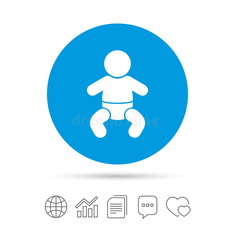 Baby infant sign icon. Toddler boy symbol. Baby infant sign icon. Toddler boy with diapers symbol. Child WC toilet. Copy files, chat speech bubble and chart web stock illustration