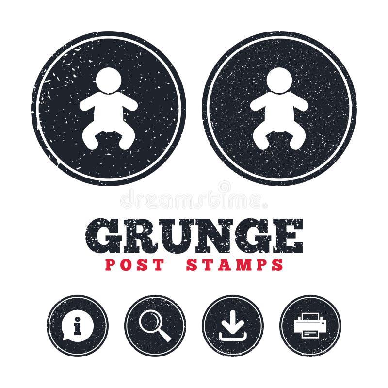 Baby infant sign icon. Toddler boy symbol. Grunge post stamps. Baby infant sign icon. Toddler boy in pajamas or crawlers body symbol. Child WC toilet royalty free illustration