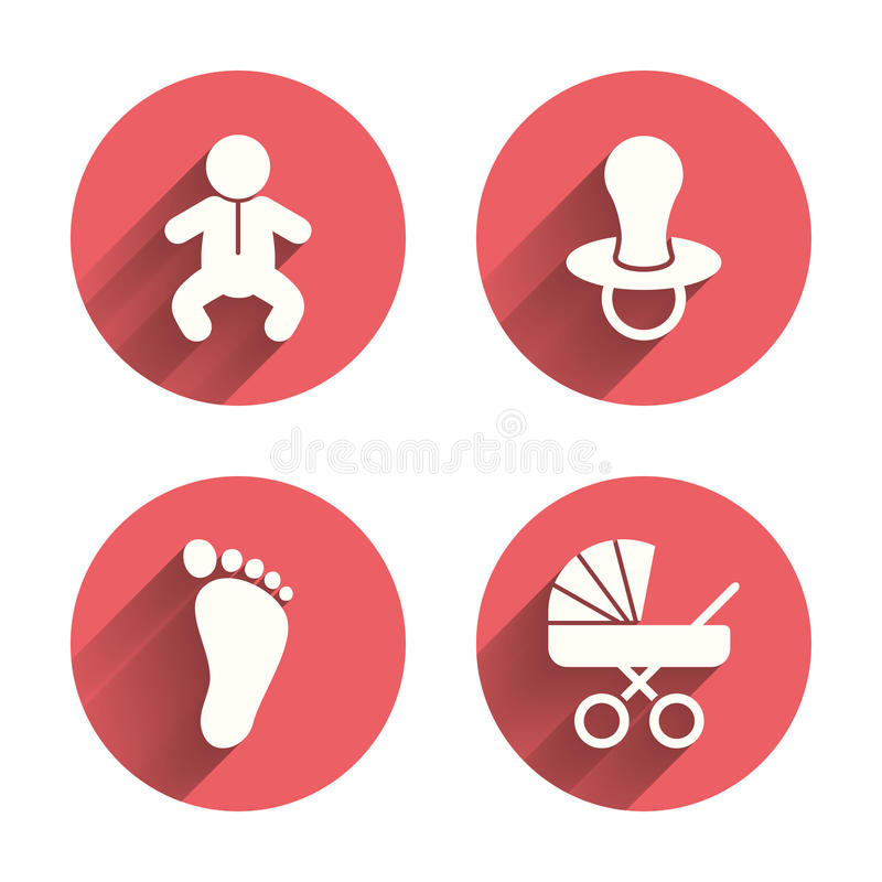 Baby infants icons. Buggy and dummy symbols. Baby infants icons. Toddler boy with diapers symbol. Buggy and dummy signs. Child pacifier and pram stroller. Child royalty free illustration