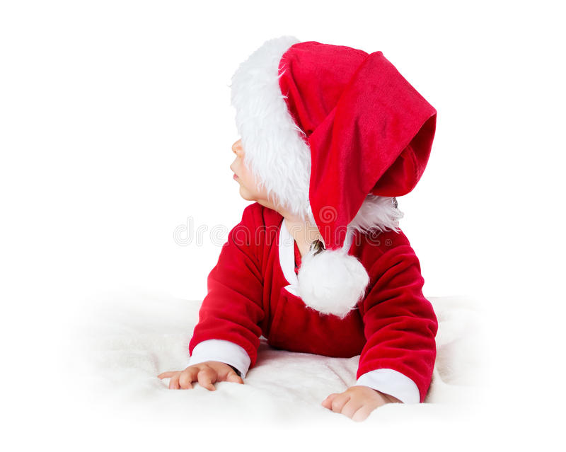 Baby isolated on white background in santa costume stock image