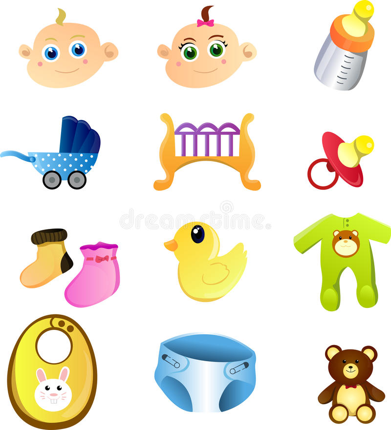 Download Baby items stock vector. Illustration of stuffed, crib - 18717122