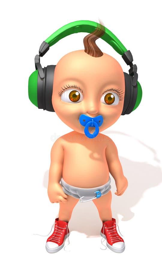 Baby Jake hip hop. 3d illustration isolated over white background royalty free illustration