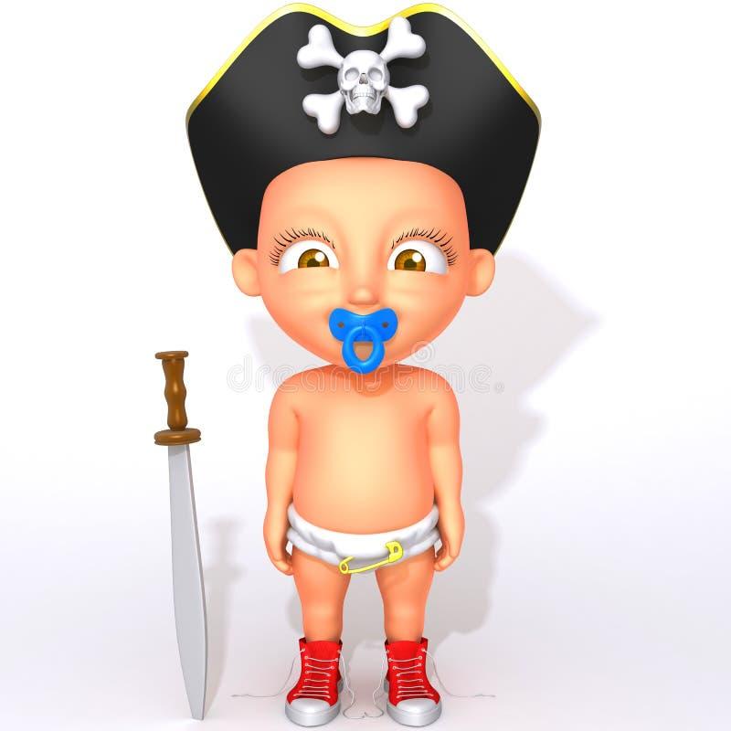 Baby Jake pirate 3d illustration royalty free illustration