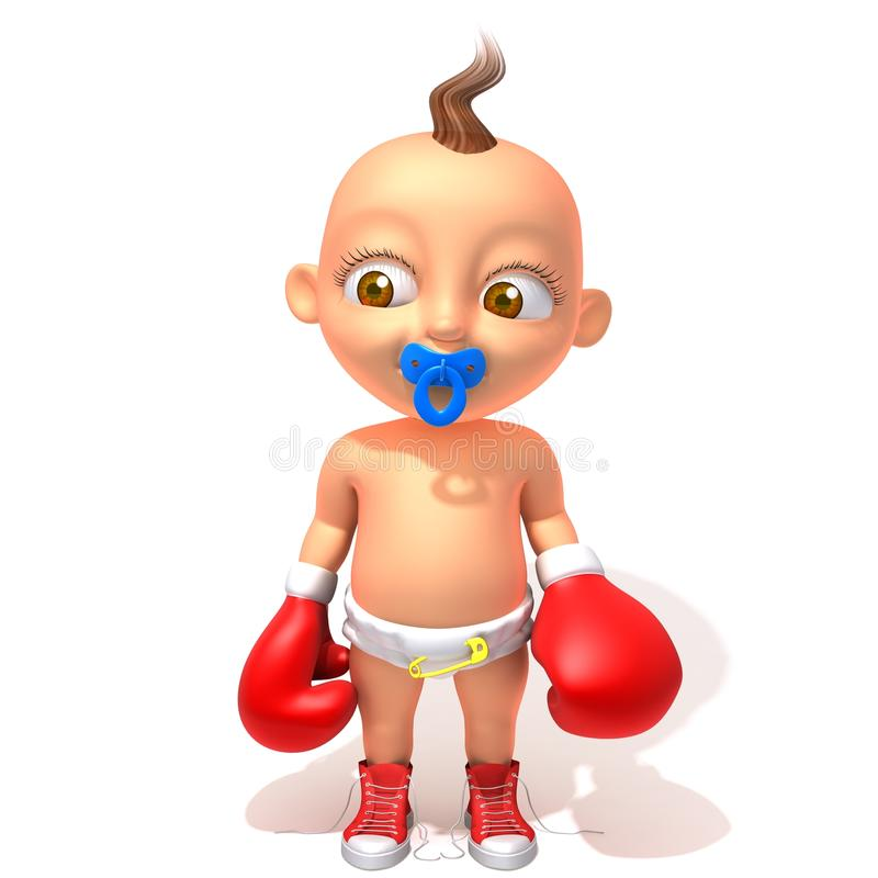 Baby Jake With Red Boxing Gloves 3d Illustration Stock