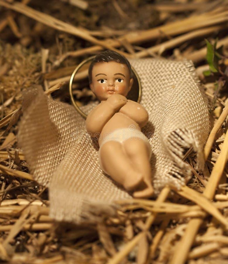Baby Jesus Christmas Nativity Scene royalty-vrije stock afbeelding